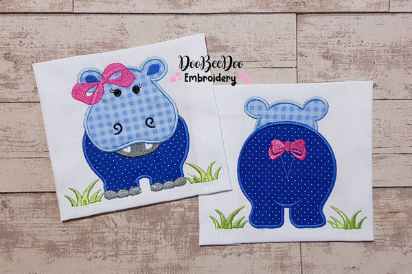 Hippo Girl Front and Back - Applique - 4x4 5x5 6x6 7x7
