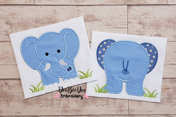 Elephant Boy Front and Back - Applique - 4x4 5x5 6x6 7x7
