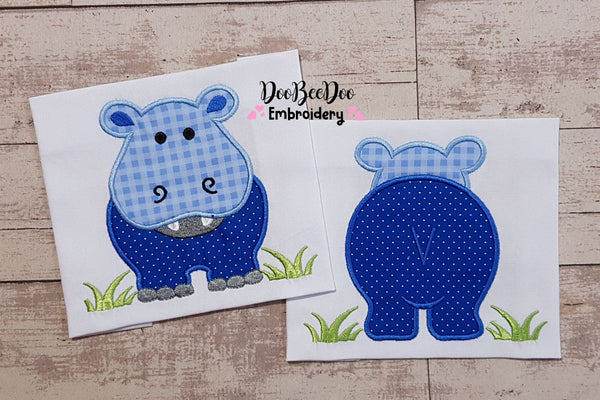 Hippo Boy Front and Back - Applique - 4x4 5x5 6x6 7x7
