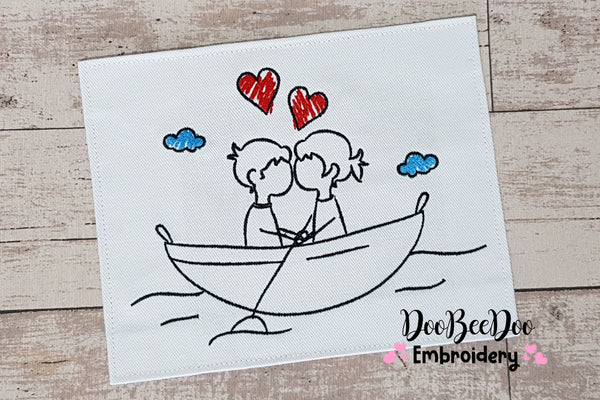 Couple in Love on a Boat - Fill Stitch - 5x5 6x6 7x7