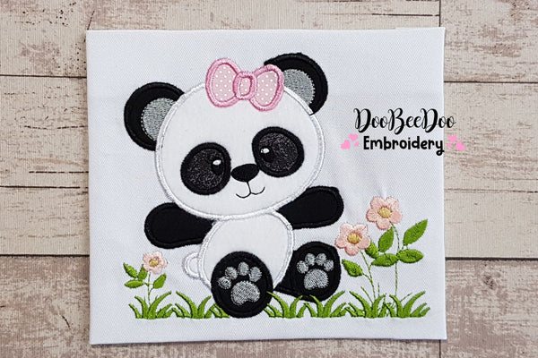 Panda Bear Girl - Applique - 4x4 5x5 6x6 7x7