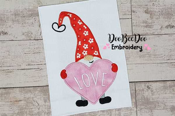 Valentines Gnome Heart - Applique - 5x7 6x10 7x12