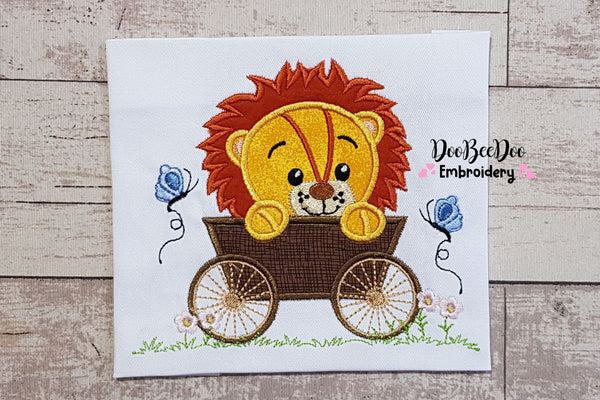 Lion Boy in the Wagon  - Applique - 4x4 5x5 6x6 7x7