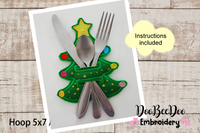 Christmas Tree Cutlery Holder (ITH) - Applique -  Machine Embroidery Design