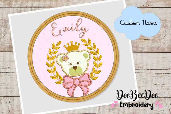 Custom Bear Girl princess  for Wood Hoop - 5 Sizes - Machine Embroidery Designs