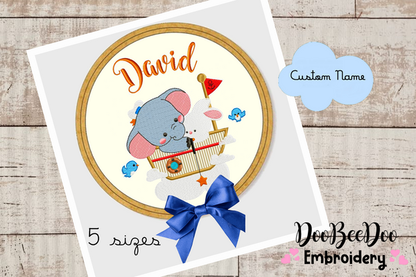 Custom Ellephant  for Wood Hoop - 5 Sizes - Machine Embroidery Designs