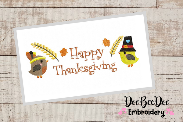 Happy Thanksgiving - Fill Stith - 7 Sizes - Machine Embroidery Designs
