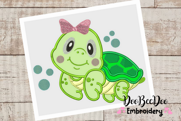 Turtle Girl - Applique - 6 Sizes -  Machine Embroidery Design