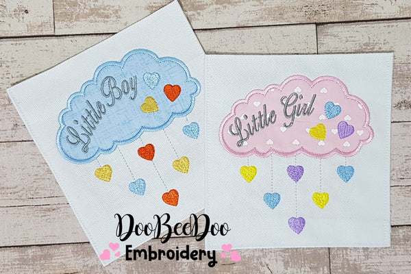 Little Boy and Little Girl Cloud and Hearts - Set of 2 designs - Applique - 4x4 5x4 5x7 5x8 6x10 7x12