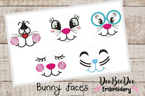Bunny Faces  - Fill Stitch - 5 Designs Hoop 5x5  5x7 6x10  7x12- Machine Embroidery Designs