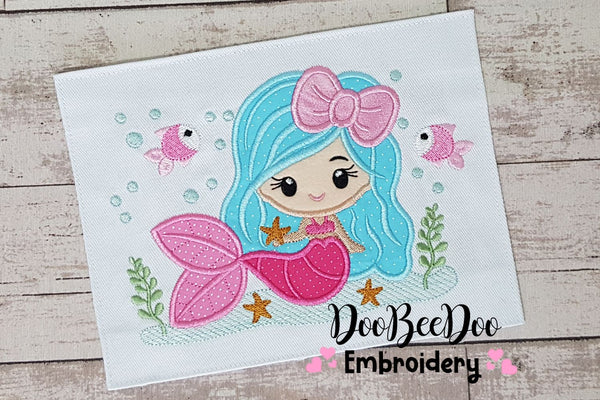 Mermaid with Bow - Applique - 4x4 5x4 5x7 5x8 6x10 7x12