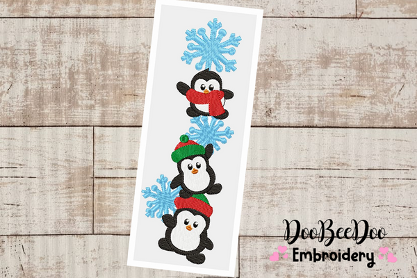 Christmas Penguin - Fill Stitch -  6 Sizes - Machine Embroidery Design