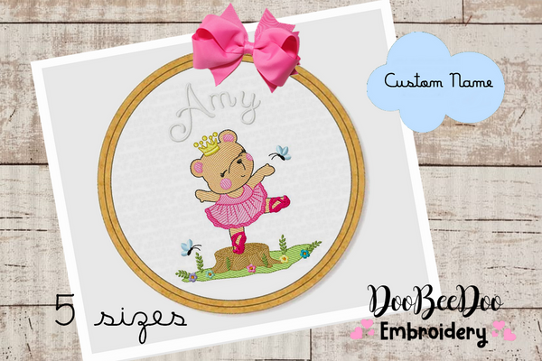Custom Bear Girl Ballerina  for Wood Hoop - 5 Sizes - Machine Embroidery Designs