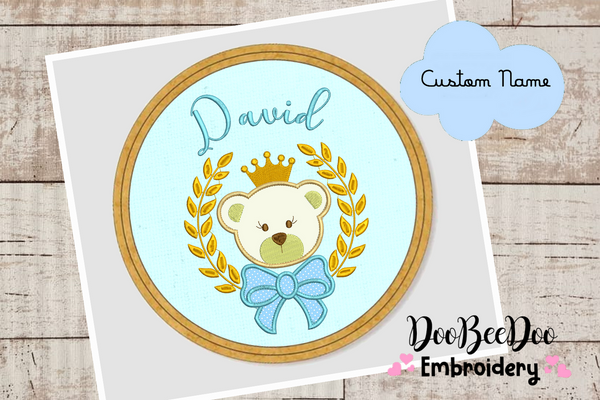 Custom Bear Boy  for Wood Hoop - 5 Sizes - Machine Embroidery Designs