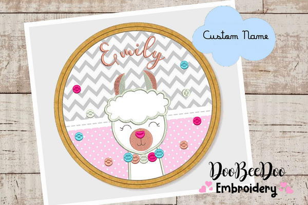 Custom Llama for Wood Hoop - 5 Sizes - Machine Embroidery Designs