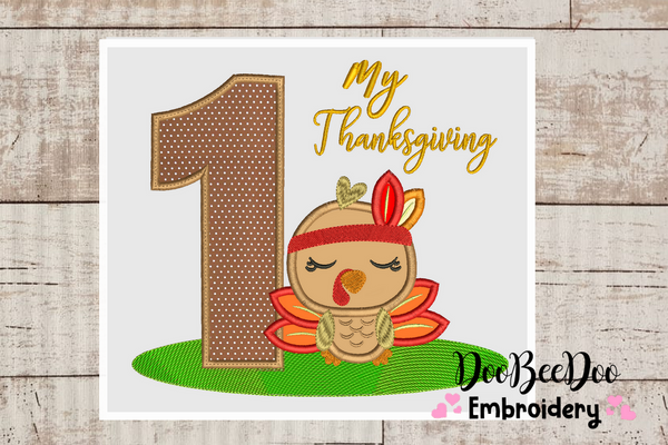 My First  Thanksgiving  Girl - Turkey with Bow - Machine Embroidery Design