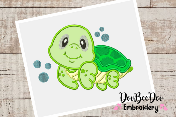 Turtle Boy - Applique - 6 Sizes -  Machine Embroidery Design