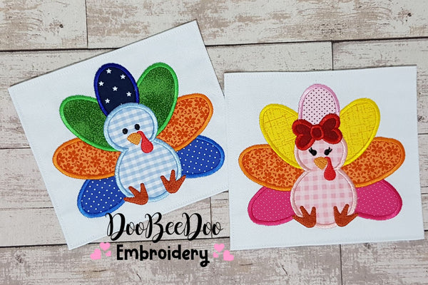 Thanksgiving Turkey Girl and Boy - Set of 2 designs - Applique - 4x4 5x5 6x6