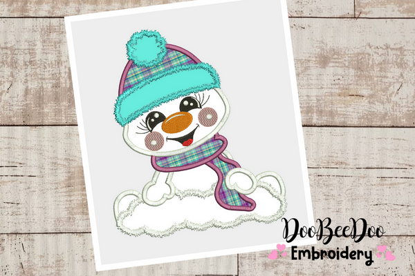 Cute Snowman  - Applique - Machine Embroidery Design