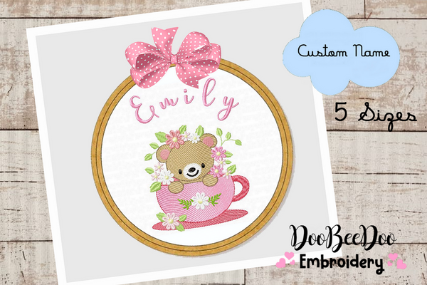 Custom Bear Girl for Wood Hoop - 5 Sizes - Machine Embroidery Designs