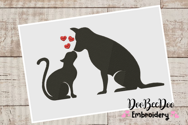 Love Cat and Dog - Valentine's Day - Fill Stitch - 6 Sizes -  Machine Embroidery Design