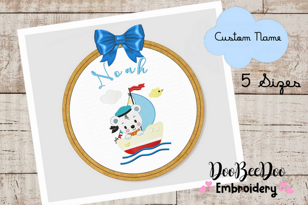 Custom Teddy bear in the boat  Wood Hoop - 5 Sizes - Machine Embroidery Designs