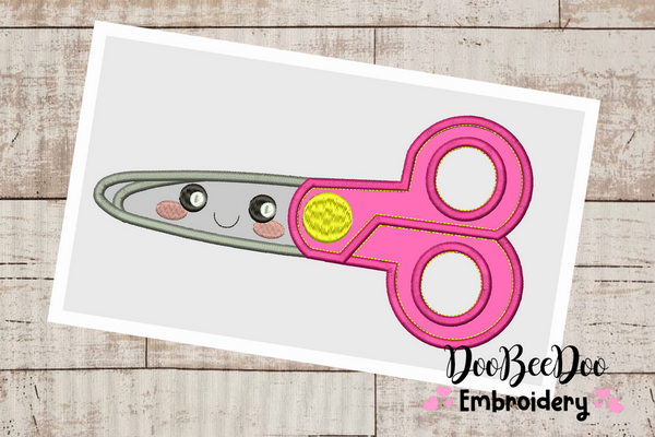 School Scissors  - 6 Sizes  - Applique -  Machine Embroidery Design