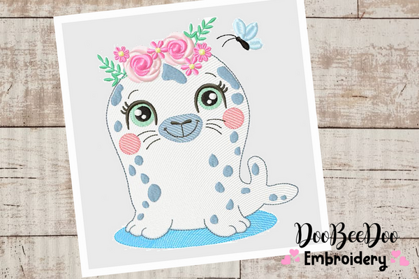 Beautiful Spring Seal - Rippled - 6 sizes - Machine Embroidery Designs