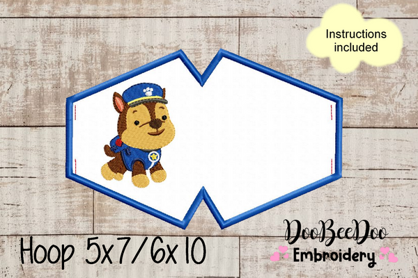 Face Mask Paw Patrol  - ITH - 3 Sizes - Machine Embroidery Designs