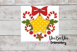 Christmas Star and  Candy Cane - Applique - 3x3 4x4 5x5 6x6 7x7