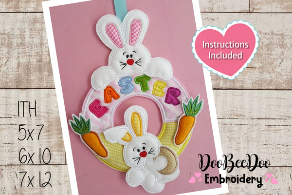 Garland of bunnies for Easter - Applique - 3 Sizes - Machine Embroidery Design