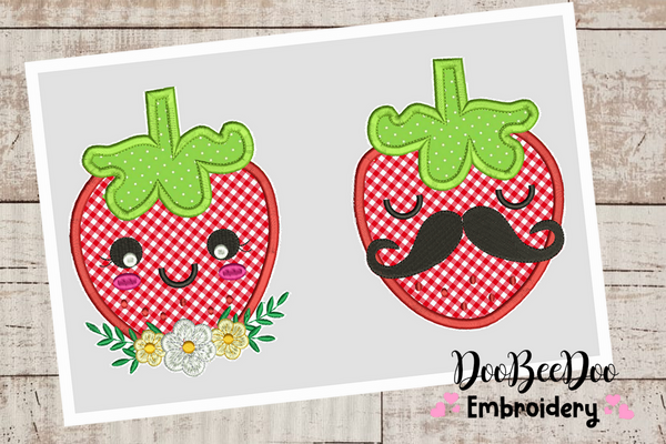 Strawberries couple- Applique - 6 Sizes -  Machine Embroidery Design