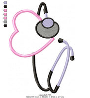 Stethoscope with Heart - Nurse - Applique Machine Embroidery Design