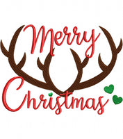 Antlers Merry Christmas - Fill Stitch - 4x4 5x7 6x10
