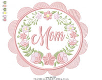 Mom Flowers Frame - Applique - 4x4 5x5 6x6