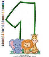 Safari 1st Birthday - Applique - 5x7 6x10