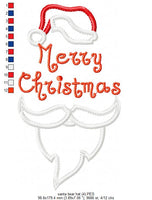 Santa Claus hat and Beard - Christmas Applique - Machine Embroidery Design