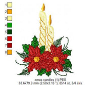Christmas Candles and Poinsettia - Fill Stitch - Machine Embroidery Design