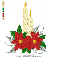 Christmas Candles and Poinsettia - Fill Stitch - 3x3 4x4 5x7 5x8 6x10 7x12