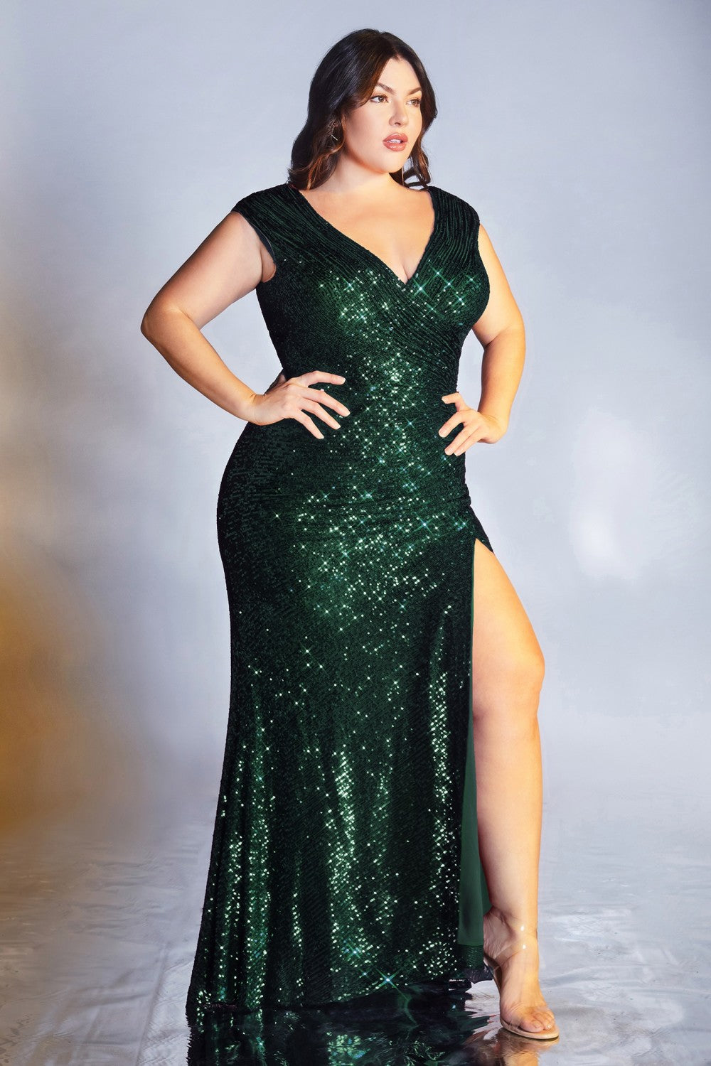Aria Prom Dress Sequin Fitted V Neckline C-198AI-Emerald