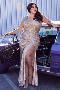 Aria Prom Dress Sequin Fitted V Neckline C-198AI-Gold