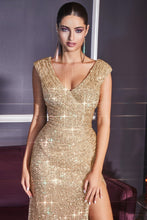 Load image into Gallery viewer, Aria Prom Dress Sequin Fitted V Neckline C-198AI-Gold