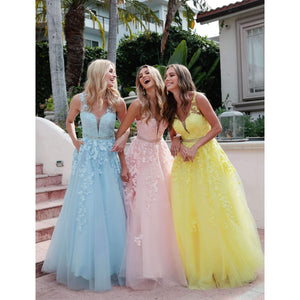 Ashlynn Prom Gown Lace Top Tulle Skirt Prom Dress J224-IceBlue