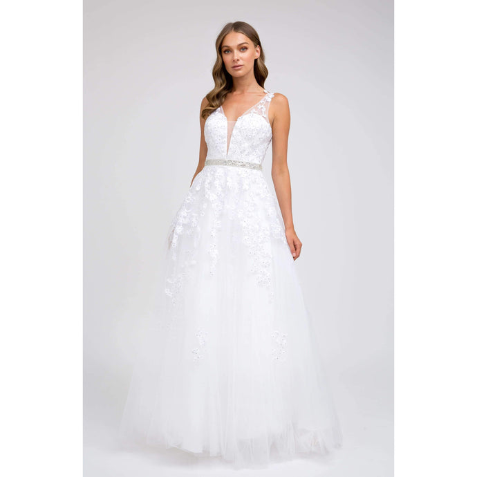 Ashlynn Prom Gown Lace Top Tulle Skirt Prom Dress J224-White