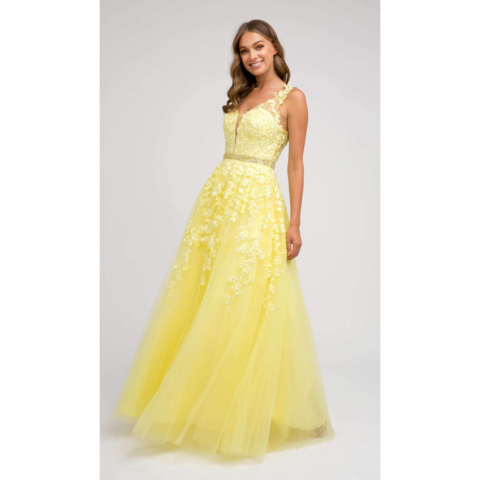 Ashlynn Prom Gown in Yellow Sleeveless Lace Top with Full Tulle Skirt Prom Dress J224-Yellow