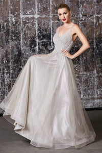 Audrey Prom Gown in Champagne Beaded Top C918-Champagne