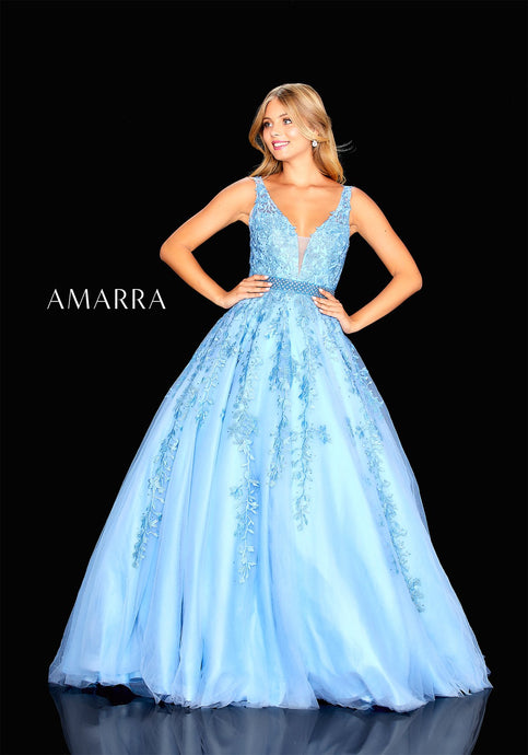 Babette Prom Dress Lace and Tulle Ballgown Prom Dress A20607-Blue