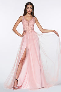 Blake Prom Gown Lace Embroidered Top Tulle Skirt Prom Dress C1040-Blush