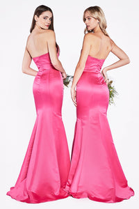 Chelsea Prom Gown Strapless Flared Bottom Satin Prom Dress C-8792-Fuschia