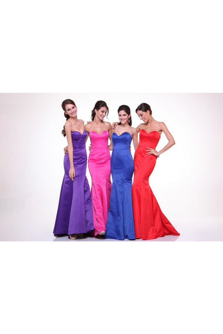 Chelsea Prom Gown Strapless Flared Bottom Satin Prom Dress C-8792-Red
